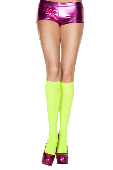 Make way for high-voltage vibrancy and slip into these flirty Electric Lime Opaque Knee Hi Stockings!
