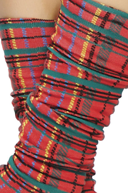 Shop these women's red plaid leg warmers