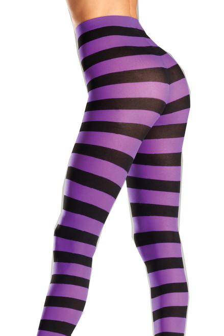 Shop these black and purple striped pantyhose with feet
