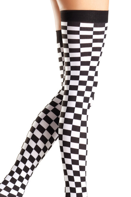 Shop these black and white checkerboard thigh high stockings