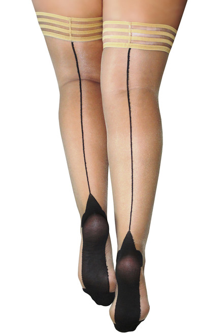 Shop these stay up nylon thigh high stockings with silicone banded thighs