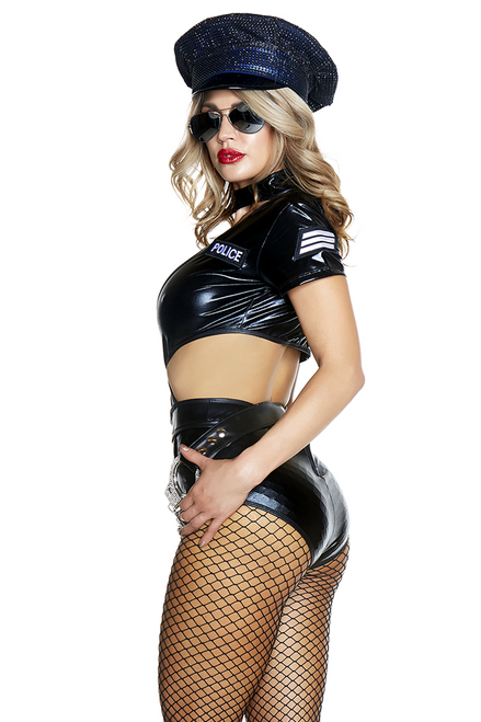 Shop women's very sexy Halloween Cop Costume featuring a faux leather cop costume with high waist and cutout details
