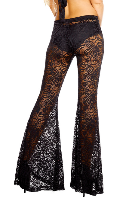 Shop J Valentine black swirl lace bell bottoms with high waist.