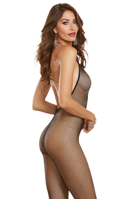 Shop high neck fishnet open crotch full body body stocking