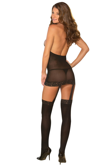 Shop sexy lingerie black sheer high neck dress with attached garters and stockings