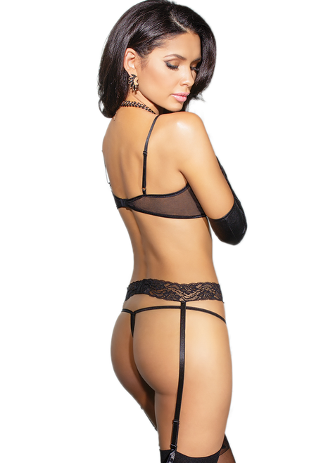 Shop black lace open cup shelf bra with high waist lace garterbelt and thong