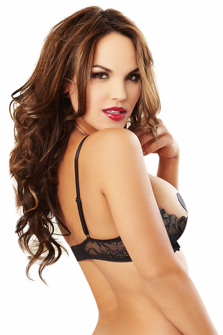 Shop this women's black open cup shelf bra with lace detail