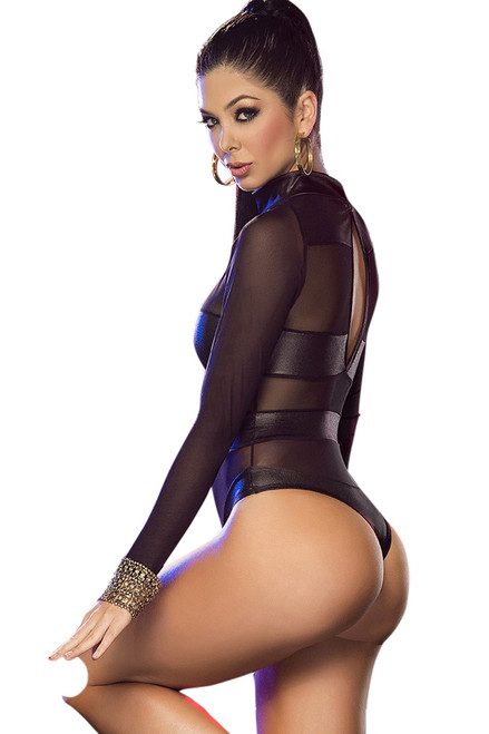 Shop women's black mesh long sleeve jumpsuit romper.