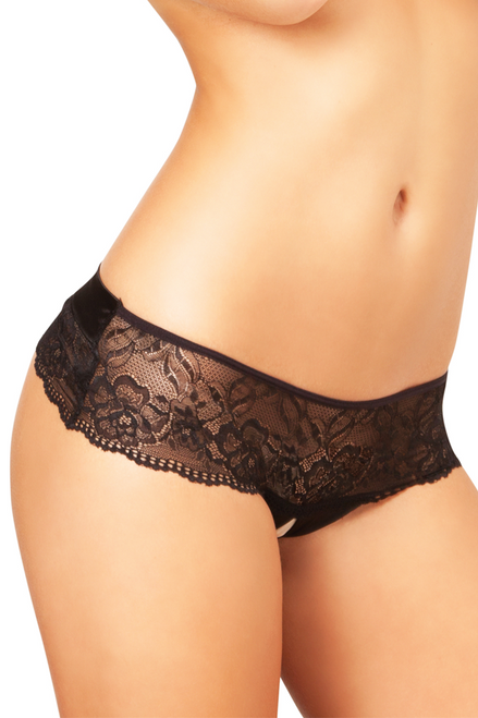 Shop women's crotchless black lace thong panty with large black satin bow in back