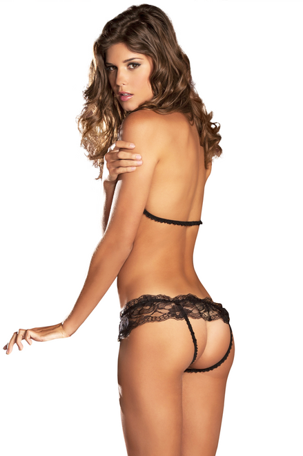 Shop women's black lace peek a boo open cup bra with crotchless open crotch assless panties