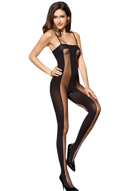 Shop women's black vertical striped body stocking lingerie with open crotch crotchless
