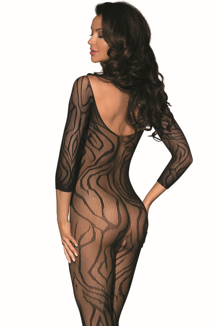 Shop this women's sexy crotchless crotch open body stocking with three quarter sleeves and full body design