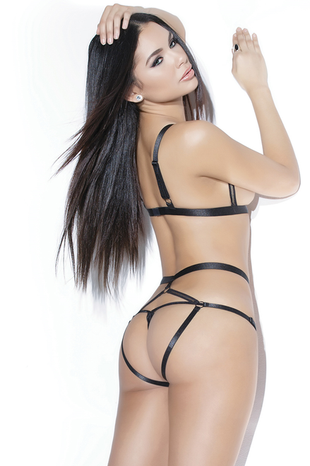 Shop this women's sexy two piece open cup and crotchless lingerie set