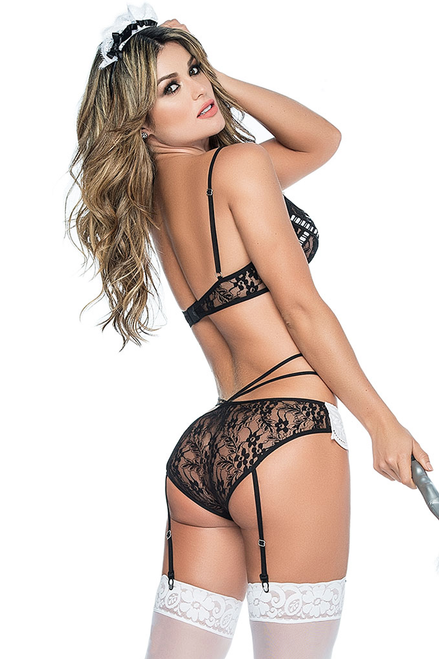 Shop this women's sexy french maid lingerie featuring a black lace bralette with lace panty and attached garter straps