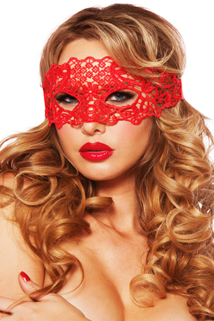 Shop this women's sexy red lace eye mask for lingerie or costume wear