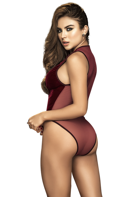 Shop this women's sexy red burgundy velvet holiday romper featuring a low cut front with mesh back