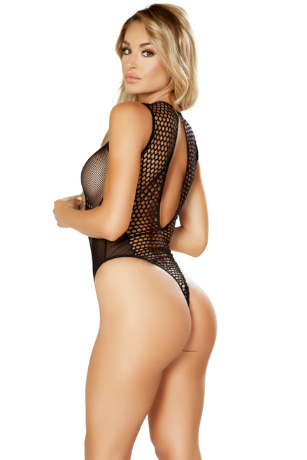 Shop this women's sexy fishnet mesh romper teddy with large keyhole and sheer material