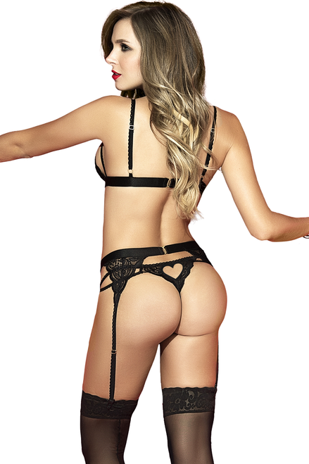 Shop this women's sexy black bralette and panty set with high waist garter with heart cutout designs