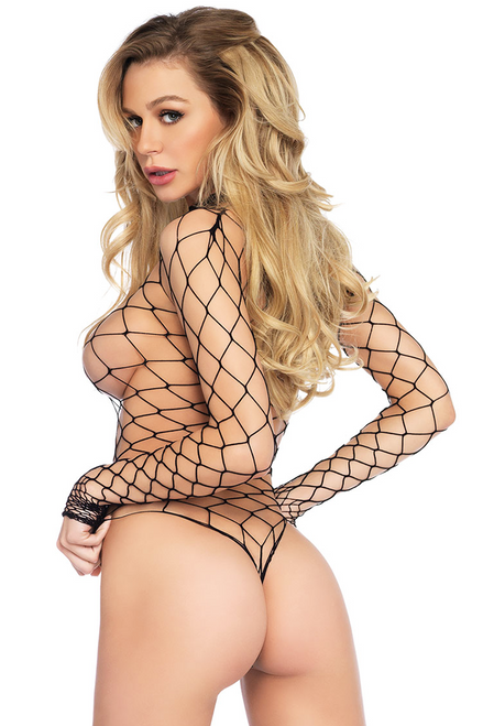 Shop this women's black fishnet long sleeve teddy body stocking