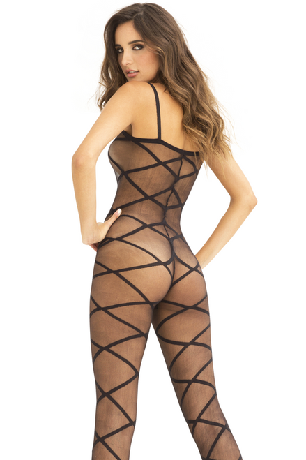 Shop this women's sexy black sheer body stocking with crisscross designs and thin shoulder straps