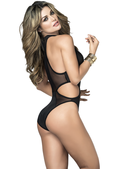 Shop this women's sexy black sheer mesh bodysuit with solid stripes for rave and festival wear