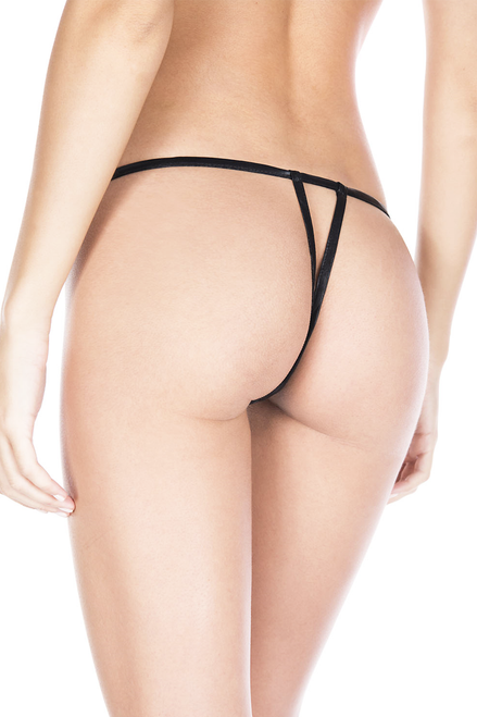 Shop this women's sexy black satin crotchless g-string panty