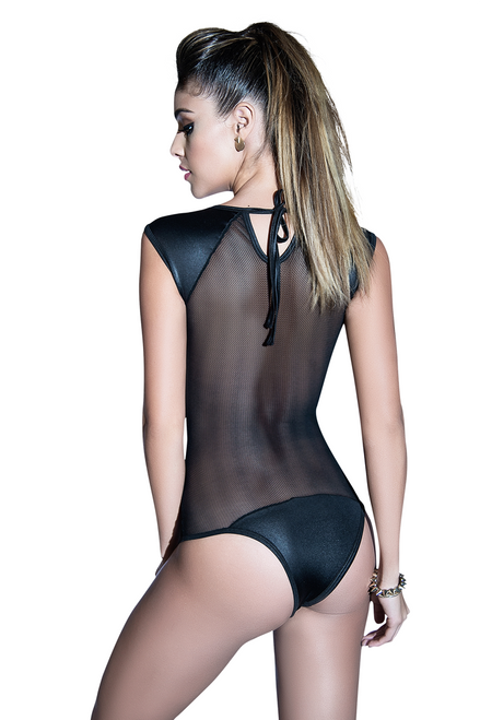 Shop this women's black fishnet bodysuit featuring sequin nipple cover stars covers