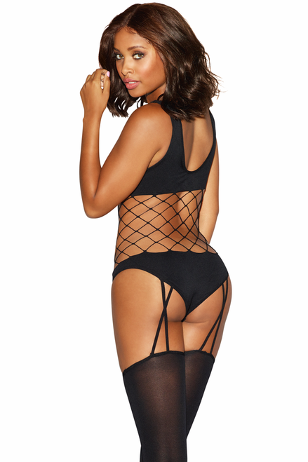 Shop this women's black fishnet bodystocking featuring fishnet torso and black opaque detail