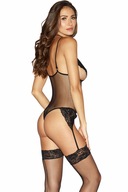 Shop this women's sexy black fishnet open cup body stocking lingerie with attached lace garters and attached lace choker