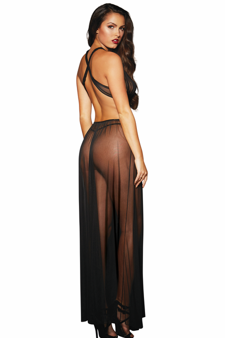 Shop this women's black sheer mesh grecian style gown with crisscross halter straps and long gown lingerie