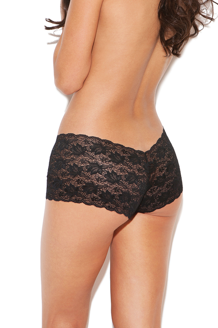 Shop this women's black lace boyshort panty with cheeky back
