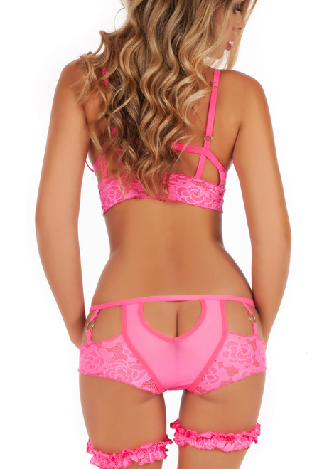 Shop this women's neon pink lingerie set with metal o ring nipple accents and neon pink panty with assless open cut back with leg garters
