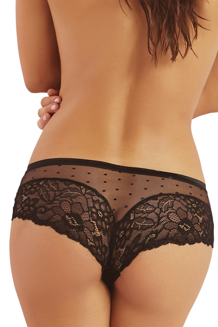 Shop this women's black lace with black mesh polka dotted cheeky lace panty