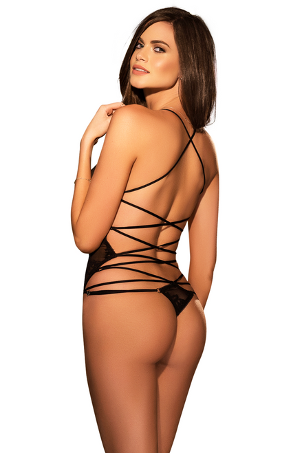 Shop this women's black sheer teddy with floral lace detail and strappy back
