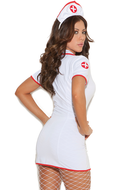 Shop this women's sexy nurse costume with white nurse mini dress and head piece