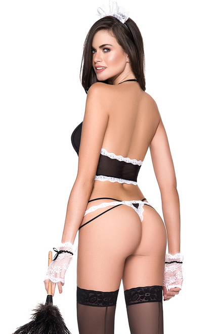 Shop this women's sexy French maid costume featuring a black bralette with thong panty set