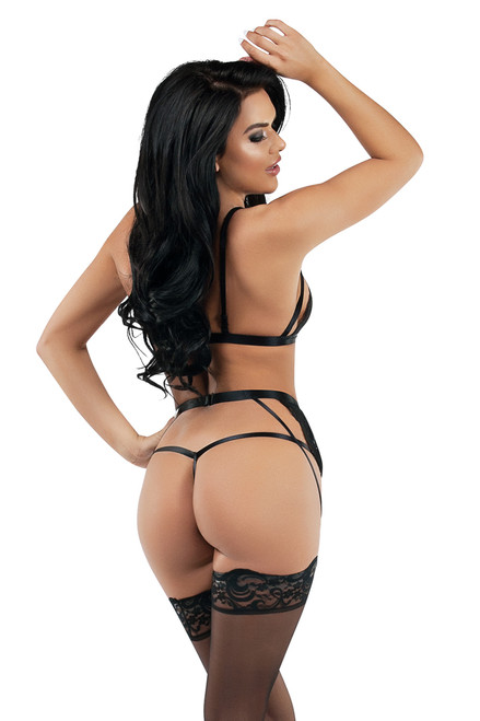 Shop this women's sexy black lingerie teddy with garter belt and thong back