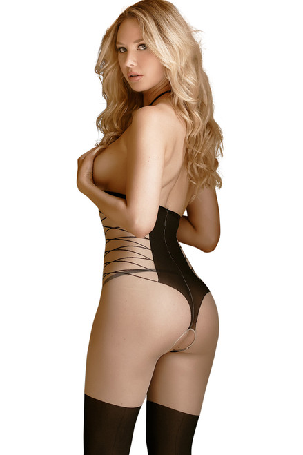 Shop this women's sexy body stocking with full nude crotchless body stocking and open cups with printed lace up stockings.