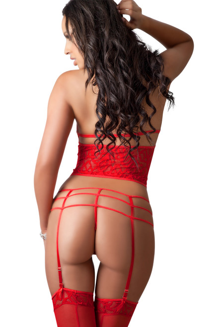 Shop this women's sexy red lingerie that includes an open cup corset with high waist garter belt and panties