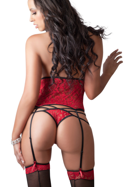Shop this women's sexy red and black lingerie that features a cupless corset with thigh high stockings and g string panty