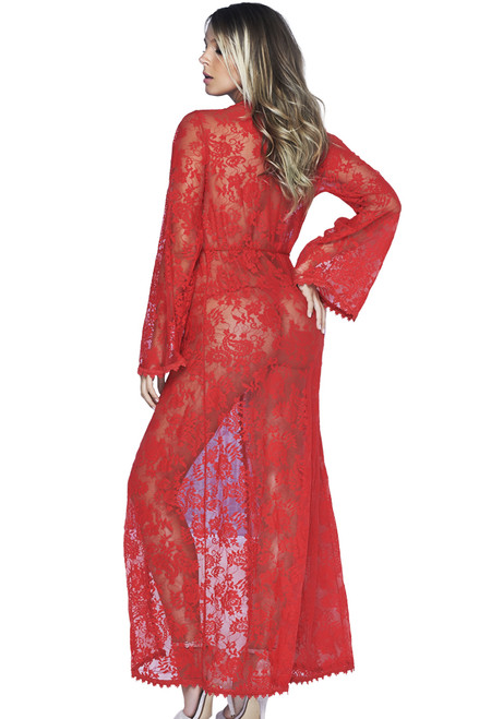 Shop this women's sexy lingerie robe red that features a floor length red gown with sheer lace