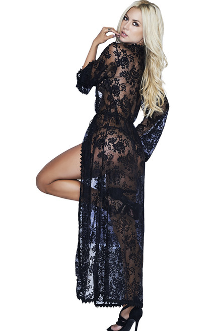 Shop this women's black floral lace lingerie gown with sheer floral lace