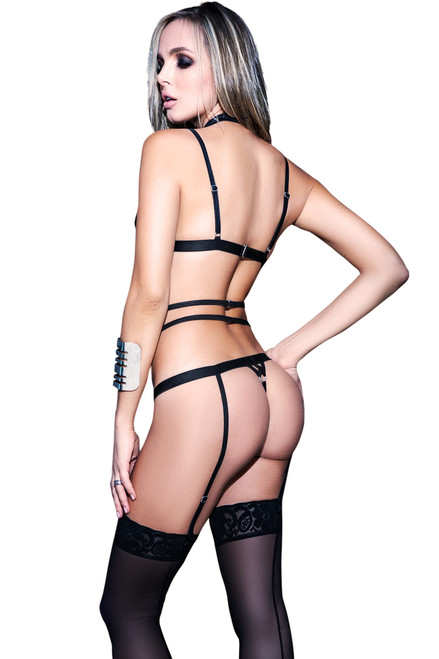 Shop this women's sexy high waist garter panty with black lace bralette