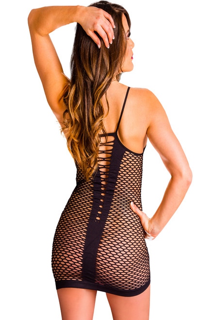 Shop this women's sexy body stocking nylon dress with v cut neckline and v cut back with fishnet design