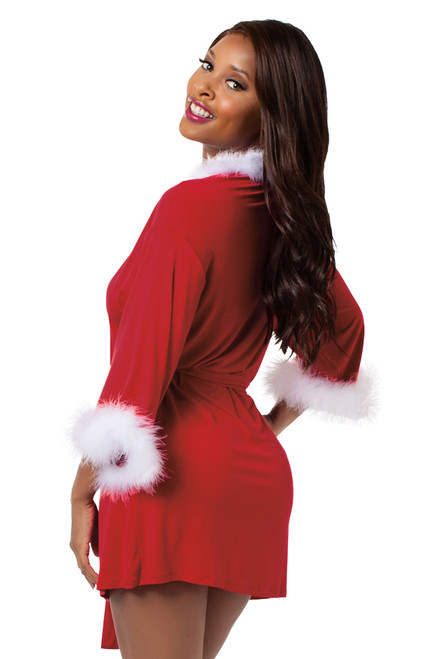 Shop this women's sexy Santa robe that features a sexy short red robe with white faux fur trim