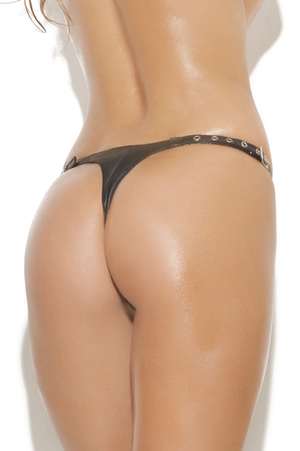 Shop this women's leather panty that features a thong back with buckle sides