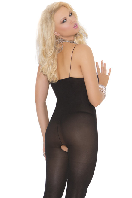 Shop this women's black opaque body stocking with pantyhose with feet
