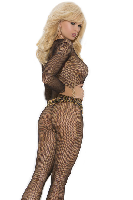 Shop this women's black long sleeve crotchless body stocking