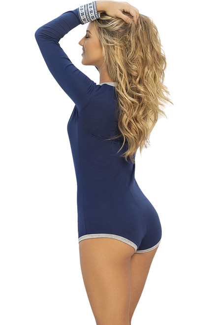 Shop this women's sexy one piece pajamas that feature blue romper with snowflake pattern