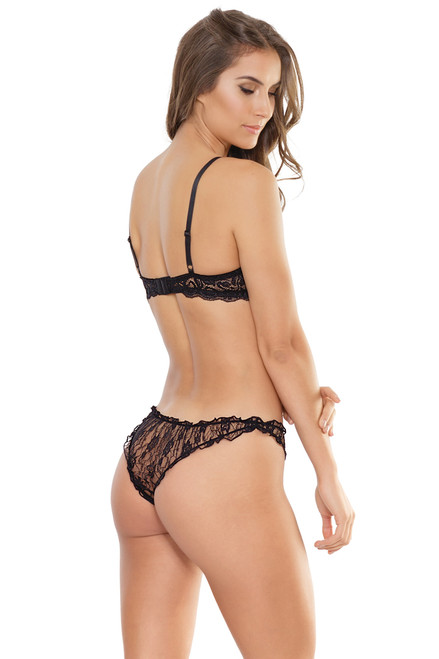 Shop this women's sexy black lace bra and panty set with scalloped lace